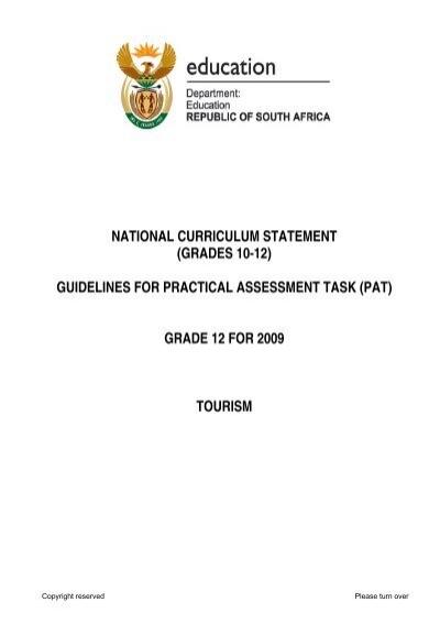 Tourism PAT GR 12 2009 Eng pdf - Curriculum Development
