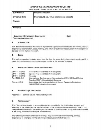 sample policyprocedure template investigational device research
