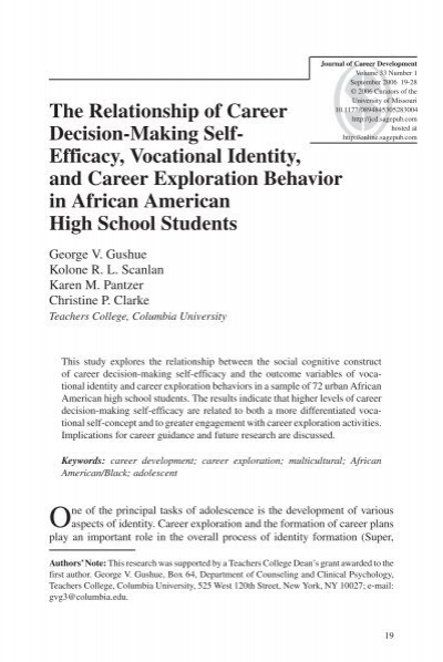 The Relationship of Career Decision-Making Self- Efficacy