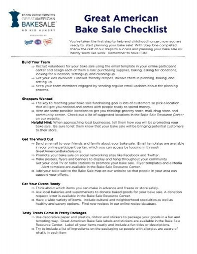 great american bake sale checklist bake sale for no kid hungry