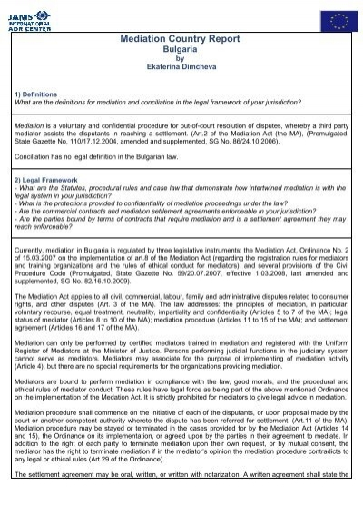 Mediation Country Report Bulgaria Adr Center