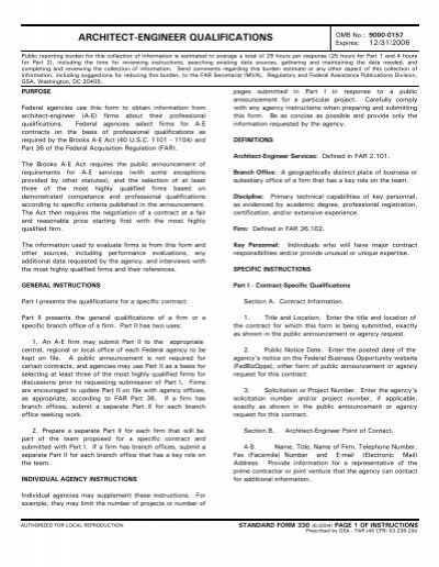 Standard Form 330 Architect Engineer Qualifications