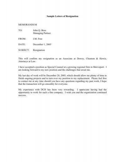 Resignation letter sample 1 sample letters of resignation memorandum to john q boss spiritdancerdesigns Image collections