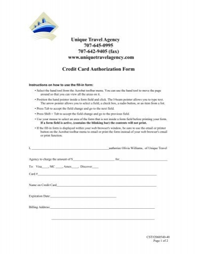 Unique Travel Agency Credit Card Authorization Form