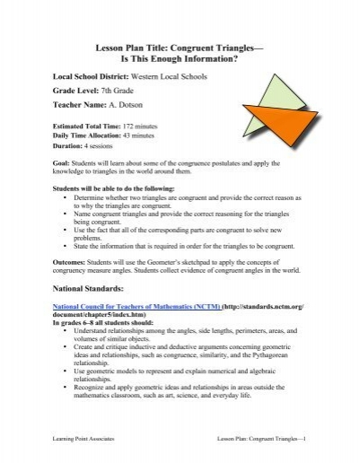 Congruent Triangles Learning Point Associates