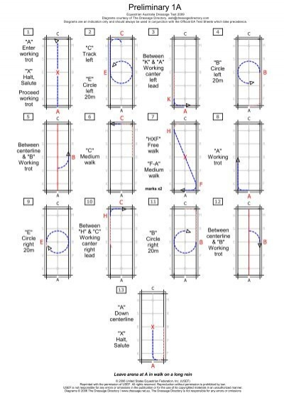 Preliminary 1a Dressage Test Diagram And Caller Sheet