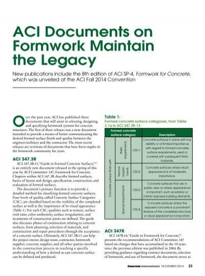 Aci Sp-4 Formwork For Concrete Pdf