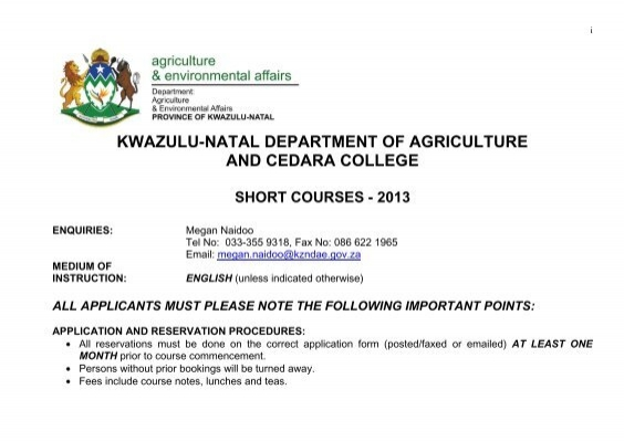 Cedara College Short Courses - Department of Agriculture and