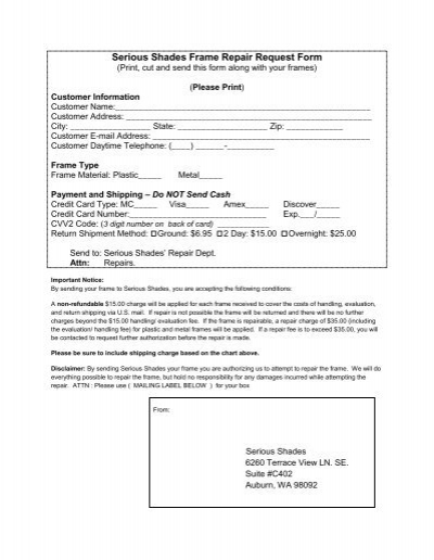 Repair Request Form Instructions  Clausen Instrument Co