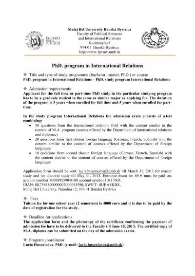 phd program in international relations - Iban Muster