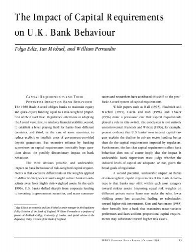 the impact of capital requirements on The study was carried out to establish the impact of minimum capital requirements on the performance of commercial banks in zimbabwe and to analyse the relationship 11 objectives of the study to establish whether bank competitiveness is related to the level of capitalisation.
