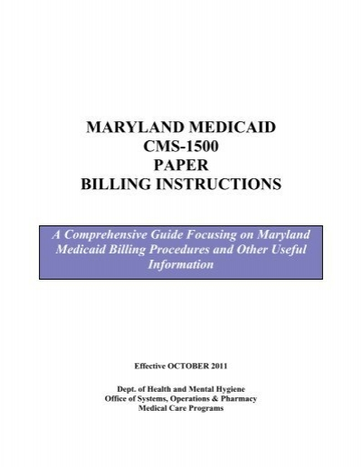 Maryland Medicaid Cms 1500 Paper Billing Instructions