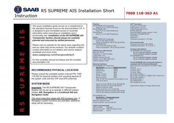 R5 SUPREME AIS Installation Short 7000 118-363 A1     - Saab