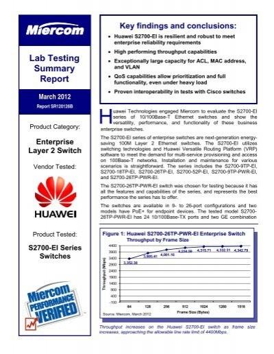 Miercom Report - Huawei S2700-26TP-PWR-EI Switch - 04 April 2012