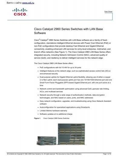 Cisco WS-C2960-8TC-L 8-port 10//100 Mbps 1 dual-purpose uplink LAN Base Switch