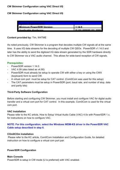 Cw Skimmer Manual