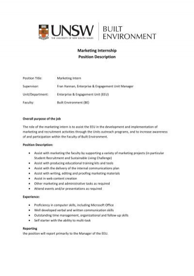 Marketing Intern Job Description Application Letter For Marketing