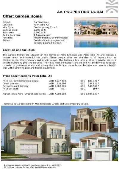 Offer: Garden Home   AA Properties Dubai
