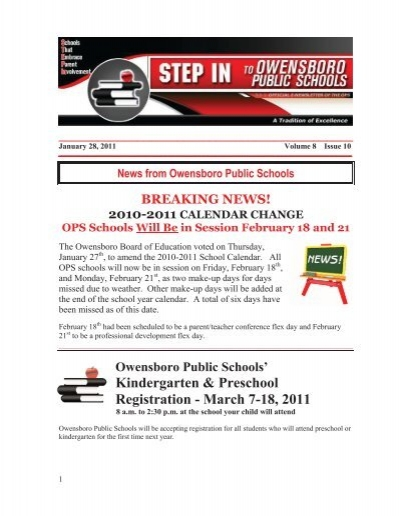 Volume 8 Issue 10 Jan 28 2011 Owensboro Public Schools