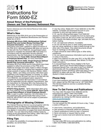Instructions For Form 5500 Ez Internal Revenue Service