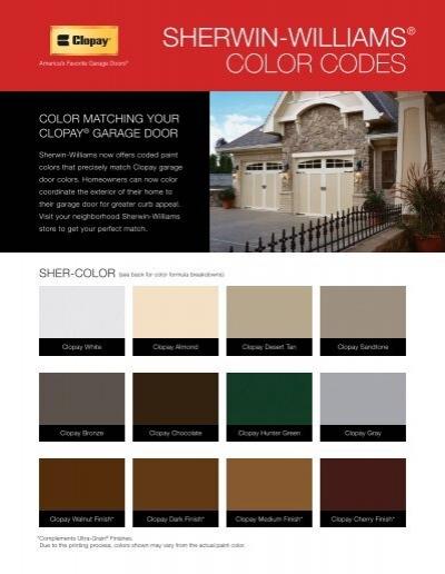 Sherwin Williamsa Color Codes Clopay