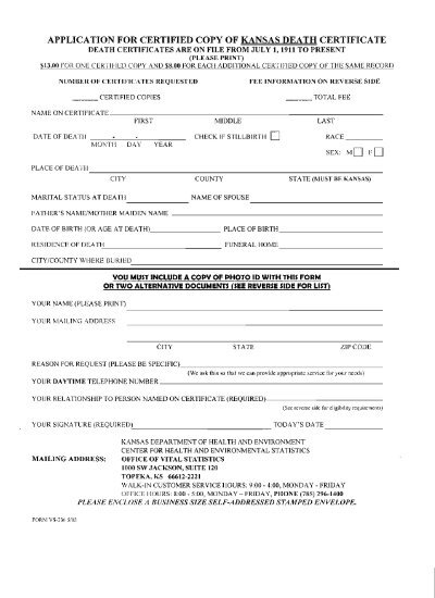 application for certified copy of kansas death certificate - Unified ...