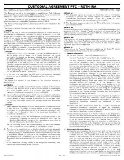 Custodial Agreement Ptc Roth Ira Lpl Financial