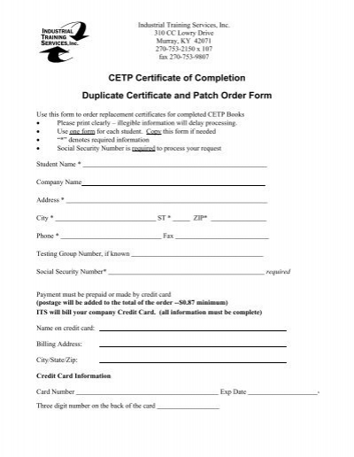 Cetp Certificate Replacement Order Form