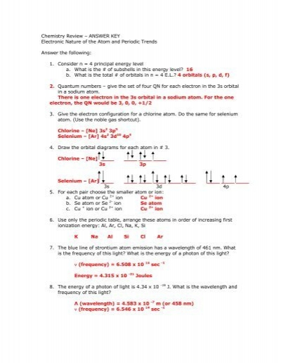 """chemistry review �€"""" answer key electronic nature of the atom"""