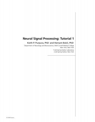 Neural Signal Processing: Tutorial 1