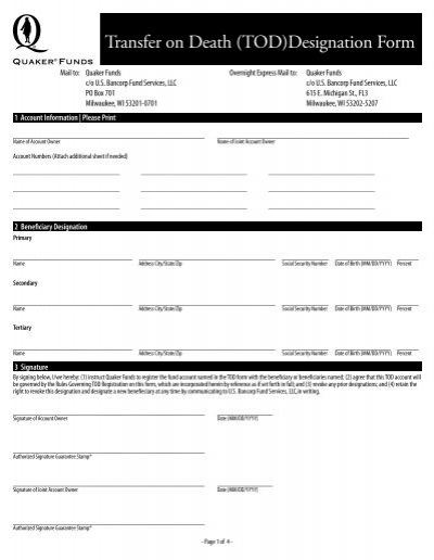 Transfer On Death Tod Designation Form Quaker Funds
