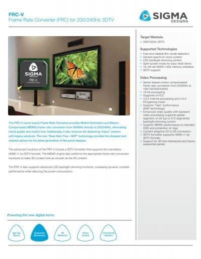 FRC-V Frame Rate Converter (FRC) for 200/240Hz ... - Sigma Designs