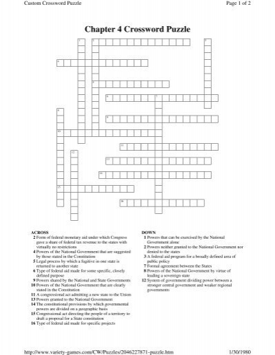 Chapter 4 Crossword Puzzle