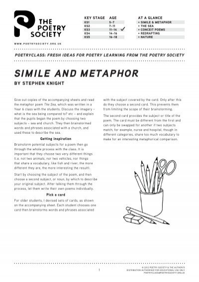 Simile And Metaphor The Poetry Society
