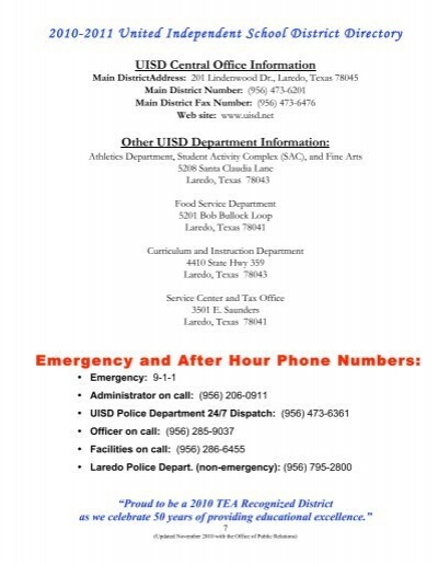 Other UISD Department Information - United Independent School ...