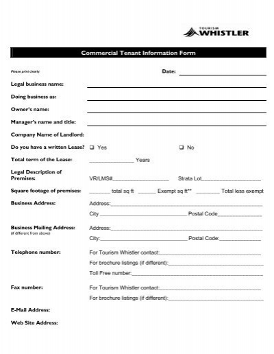 Commercial Tenant Information Form Tourism Whistler Member – Tenant Information Form