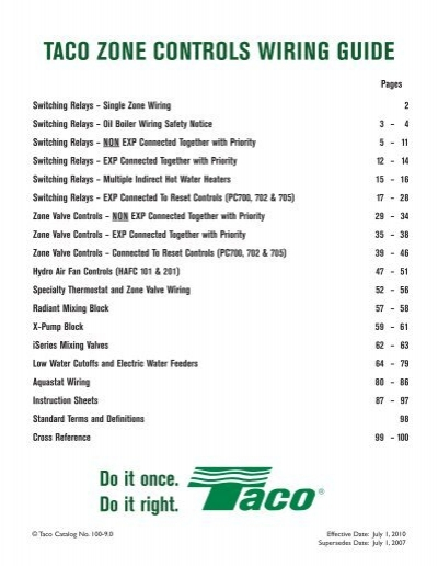 instruction sheet sr503-e taco controls wiring
