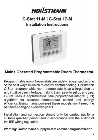 Horstmann 425 range installation instructions c stat 11 m c stat 17 m horstmann freerunsca Images