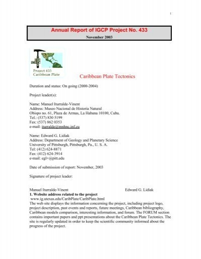 Annual Report Of Igcp Project No 433 Caribbean Plate Tectonics