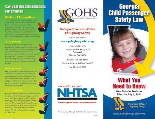 Georgia Child Passenger Safety Law Georgia Child Passenger ...