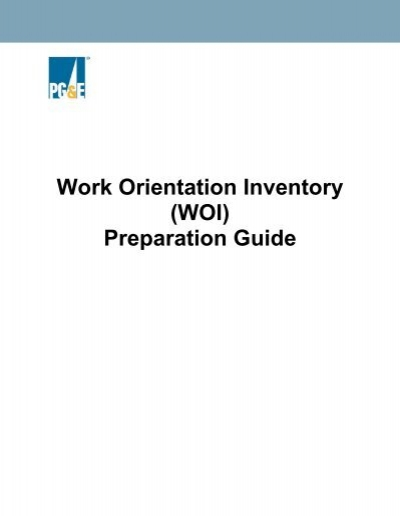 work orientation inventory woi preparation guide rh yumpu com New Student Orientation Guide Job Orientation Guides