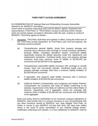 Third Party Access Agreement In Consideration Of