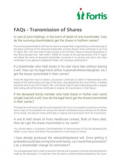 FAQ s – Transmission - Fortis Healthcare