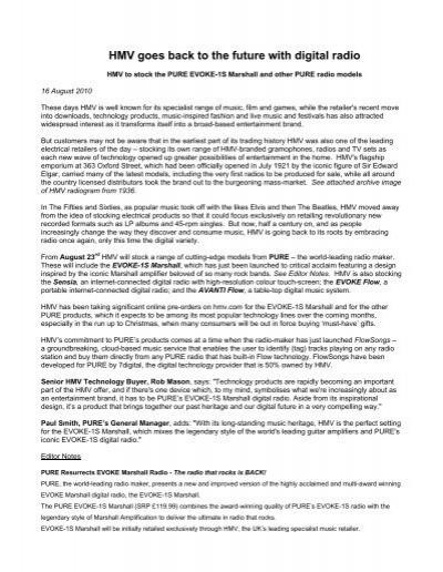 HMV goes back to the future with digital radio - HMV com