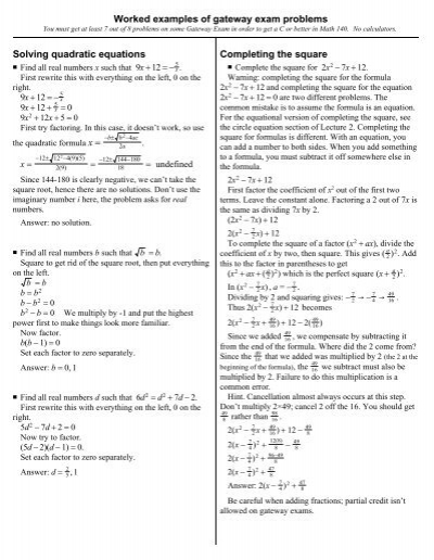 Solving Quadratic Equations Completing The Square Worked Examples