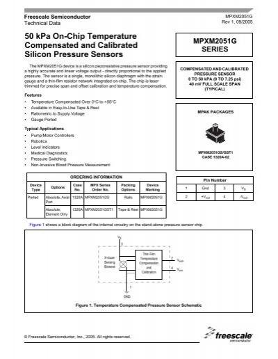 0 kPa 50 kPa Differential 0.8 mV//kPa 10 V Pressure Sensor 16 V