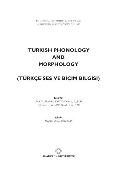 Turkish Phonology And Morphology Turkce Ses Ve B C Mb Lg S