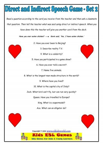 direct and indirect speech games