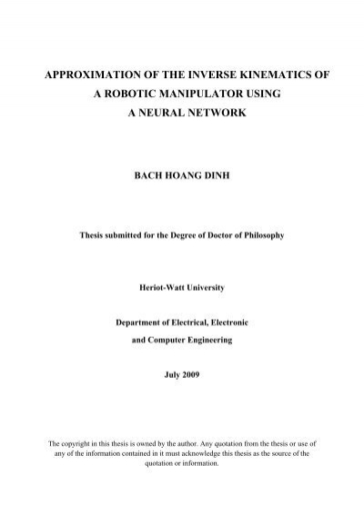 approximation of the inverse kinematics of a robotic manipulator - ROS