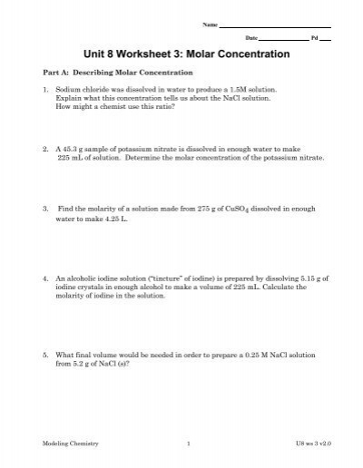 Unit 8 Worksheet 3 Molar Concentration